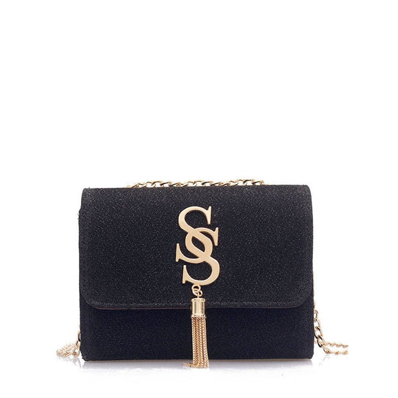 Tassel Detail Chain Crossbody Bag