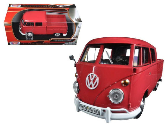Volkswagen Type 2 (T1) Double Cab Pickup Truck Wax Red 1-24 Diecast Model Car by Motormax