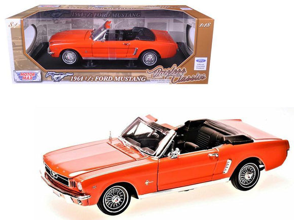 1964 1-2 Ford Mustang Convertible Orange Timeless Classics 1-18 Diecast Model Car by Motormax