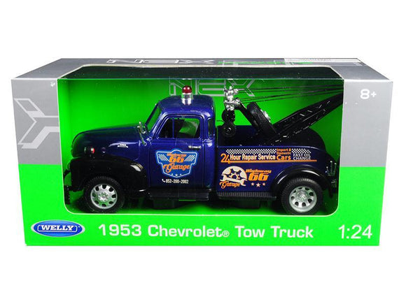 1953 Chevrolet Tow Truck Blue 1-24 Diecast Model Car by Welly