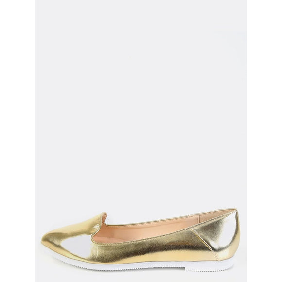 Metallic Pointy Toe Flats GOLD