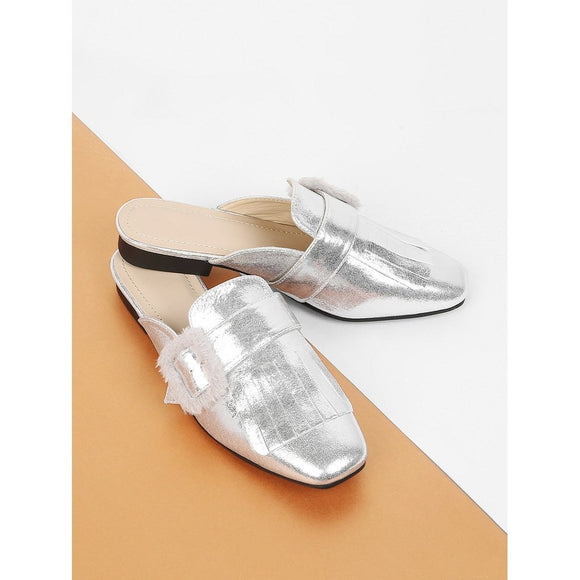 Faux Fur Detail Metallic Flats