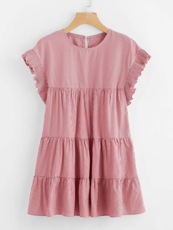 Vertical Striped Tiered Peasant Frill Dress