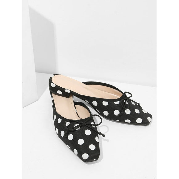 Polka Dot Bow-knot Square Toe Flats