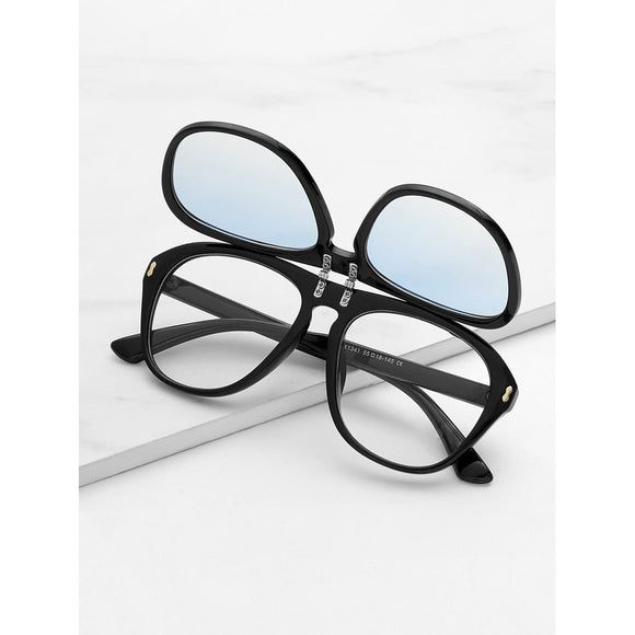 Flat Lens Flap Sunglasses