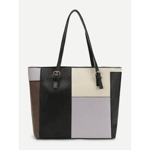 Clock Block PU Tote Bag