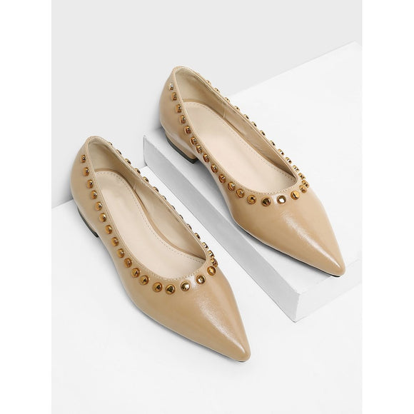 Studded Detail Pointed Toe Flats