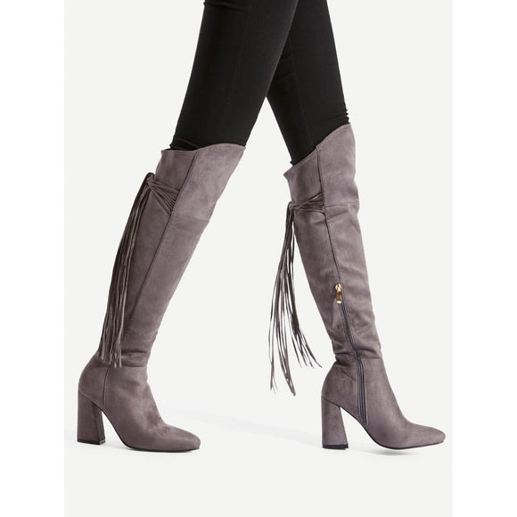 Tassel Tie Back Knee High Boots