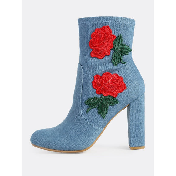 Denim Embroidered Zip Up Bootie Heel BLUE DENIM