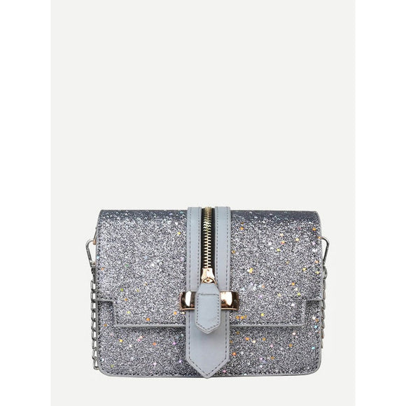 Zip Front Decor Chain Shoulder Bag