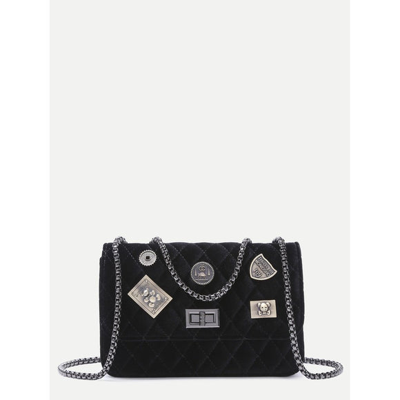 Embellished Boxy Quilted Flap Chain Bag