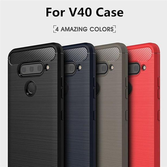 Fashion Carbon Fiber Phone Case Soft Silicone TPU Armor Back Cover for V30/V30 Plus/V40/V40 ThinQ, Q6/Q6 Plus/Q7/Q7 Plus, G6/G7/