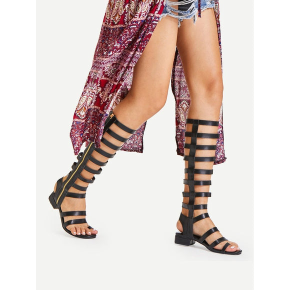 Zip Side Knee High Gladiator Sandals