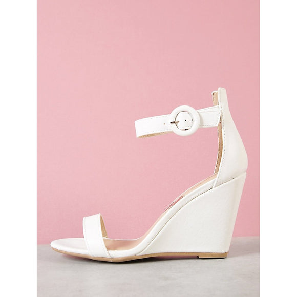 Ankle Strap Single Sole Wedge Sandal