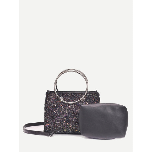Ring Handle Glitter Shoulder Bag With Clutch