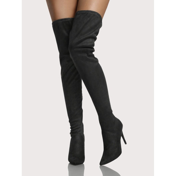 Point Toe Faux Suede Thigh High Boots BLACK
