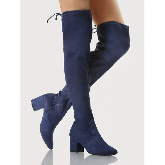 Point Toe Chunky Heel OTK Boots NAVY