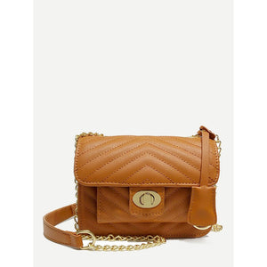 Twist Lock Chevron Shoulder Bag