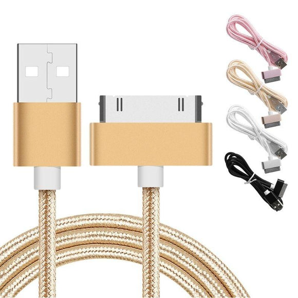 Nylon Braided 30pin USB Data Sync Charging Cable for iPhone 4 4s iPad 2 3 4 iPod WIS
