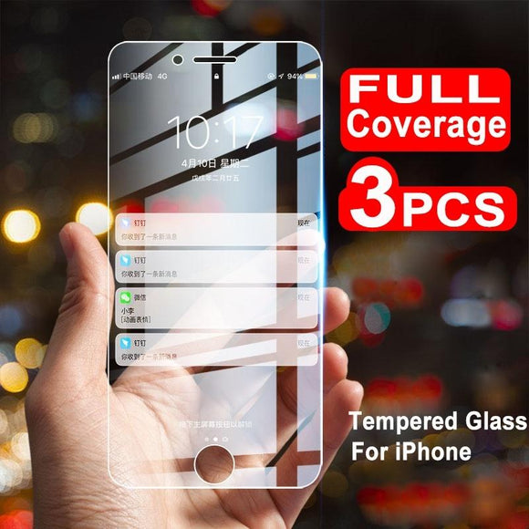 3Pcs/Pack Full Coverage All-glass New Tempered Glass Screen Protector for iPhone Phone (iPhone XS MAX, iPhone XS, iPhone XR, iPh