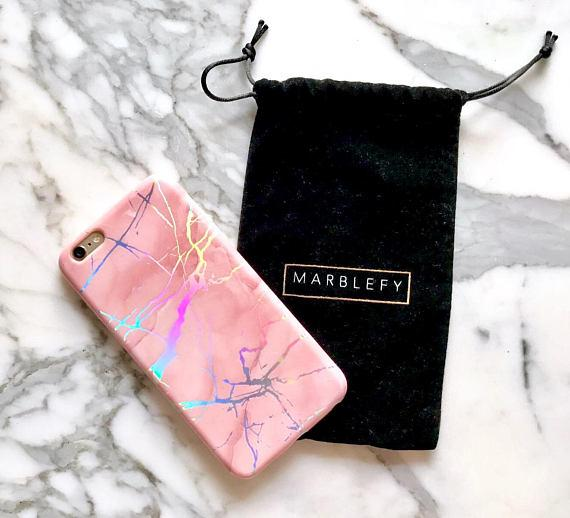 pink marble holographic phone case, metallic, coral, iphone 6,6 plus, 6s, 6s plus, 7, 7 plus, 8, iphone 8 plus case,cotton candy, peach rose