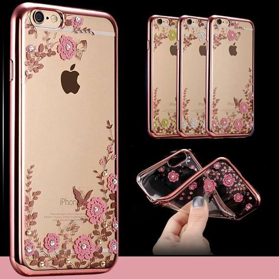 New Bling Silicone Diamond Flower ShockProof Clear Back Case Cover for iPhone 5 SE 6 6+