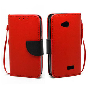 LG Tribute LS660 Leather Wallet Pouch Case Cover Red
