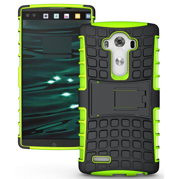 LG V10 TPU Slim Rugged Hybrid Stand Case Cover Green