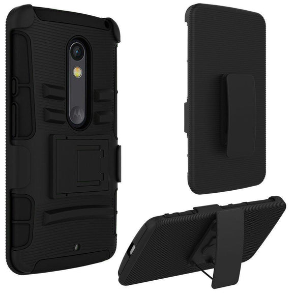 Motorola Droid Maxx 2 / XT1561 Armor Belt Clip Holster Case Cover Black