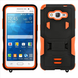 Samsung Galaxy Grand Prime SM-G530 Impact Silicone Case Dual Layer with Stand Orange