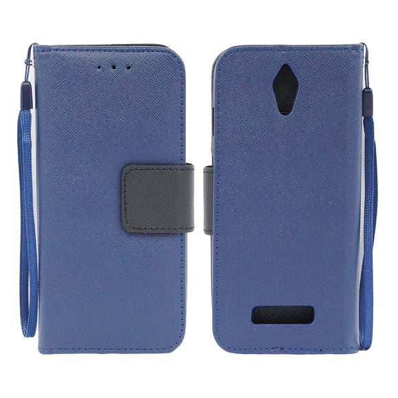 ZTE Obsidian / Z820 Leather Wallet Pouch Case Cover Blue