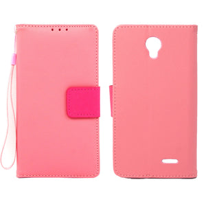 ZTE Prestige / N9132 Leather Wallet Pouch Case Cover Pink