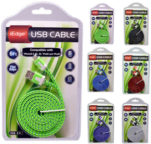 6 Foot Flat Rope Cable for iPhone 5/6 Case Pack 12