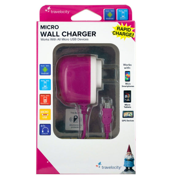 Travelocity Pink Micro USB Wall Charger Case Pack 12