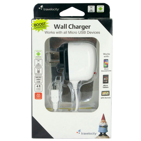 Travelocity White Micro USB Wall Charger Case Pack 12
