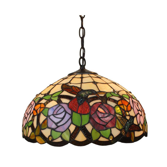 Amora Lighting Home Decorative Tiffany Style AM019HL16 Hummingbirds Floral Hanging Lamp Wide 16
