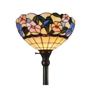 "Amora Tiffany Style AM023FL14 Hummingbirds Floral Torchiere Floor Lamp 70"" Tall"