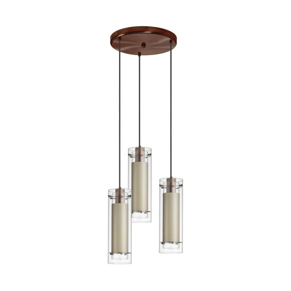 Dianolite 3 Light Oil Brushed Bronze Round Pendant with Diana Tan Fabric Sleeve Black Wire