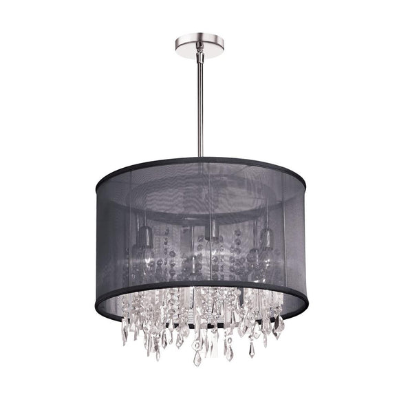 Dianolite 6 Light Polished Chrome Crystal Pendant 30 Strands Clear Crystal and 1 Centre with Black Organza Drum Shade