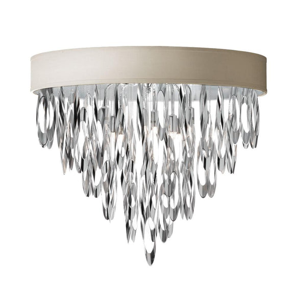 Dainolite Decorative 4 Light Flush Mount Chandelier Polished Chrome Finish with Pebble Shade