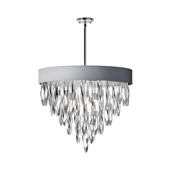Dainolite Decorative 8 Light Chandelier with Silver Shade Polished Chrome Finish