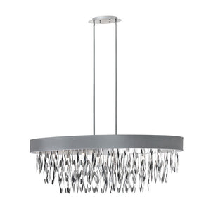 Dainolite Decorative 8 Light Oval Chandelier with Silver Shade Polished Chrome Finish