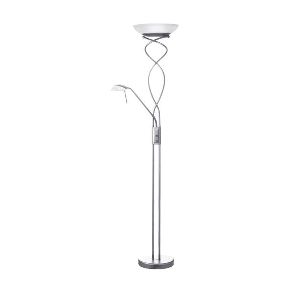 Dainolite Decorative Satin Chrome Mother and Son Torchier Floor Lamp