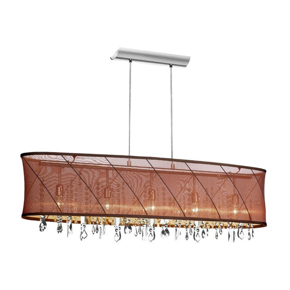 Dainolite 5 Light Horizontal Crystal Chandelier with Chocolate / Gold Organza Saffron Shade and Polished Chrome Finish