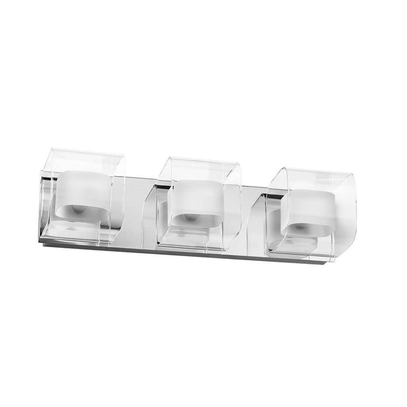 Dainolite 3 Light Bathroom Vanity Fixture with Clear Frosted Glass and Polished Chrome Finish