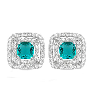 J Goodin Cubic Zirconia Silvertone Finish Contemporary Fashion Style Aqua Halo Stud Earrings