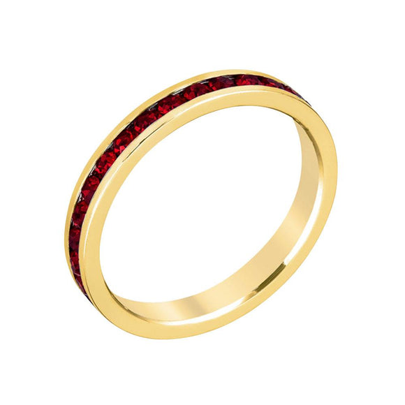 Stylish Stackables with Garnet in Gold Crystal Ring - Size 8