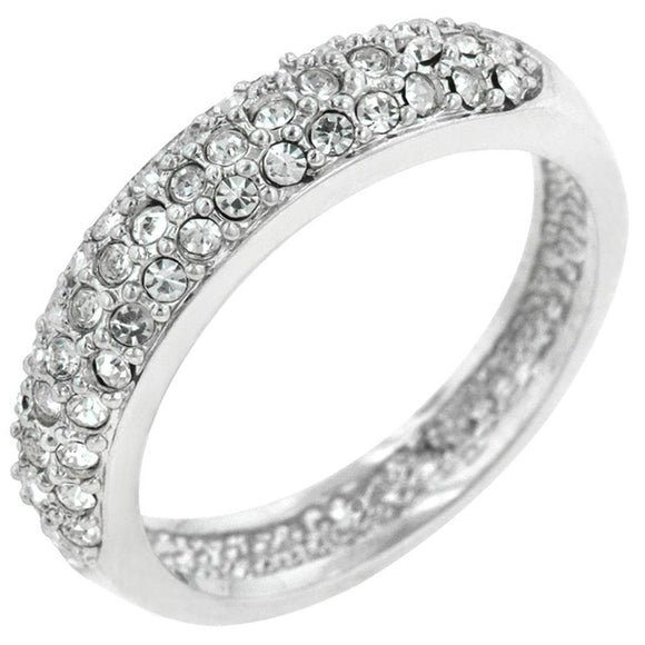 Pave Crystal Silver Band Size 7