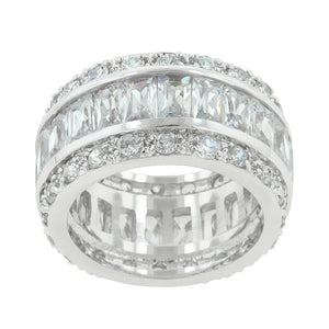 Triple Row White Zircon Eternity Ring Size 10