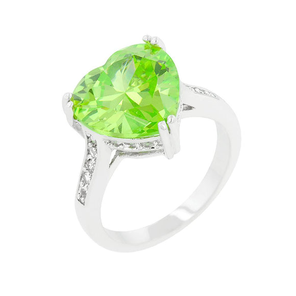 Apple Green Heart Ring Size 10